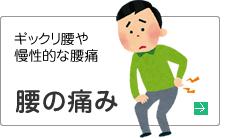 腰の痛み。ギックリ腰や慢性的な腰痛